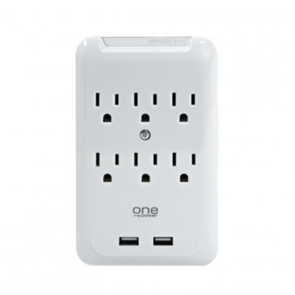 Buy New 6-Outlet Surge Protection Wall Tap With 2 USB Ports One Power