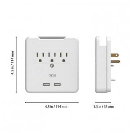 New 3-Outlet Surge Protection Wall Tap With 2 USB Ports And Device Cradle