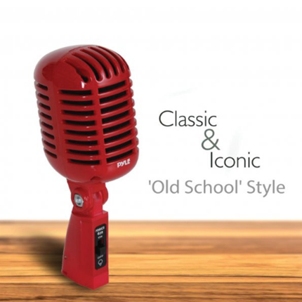 New Classic Retro Vintage-Style Dynamic Vocal Microphone (Red) Pyle Pro(r)